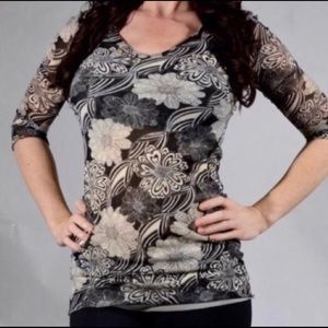 CAbi Bali floral tunic top, size M
